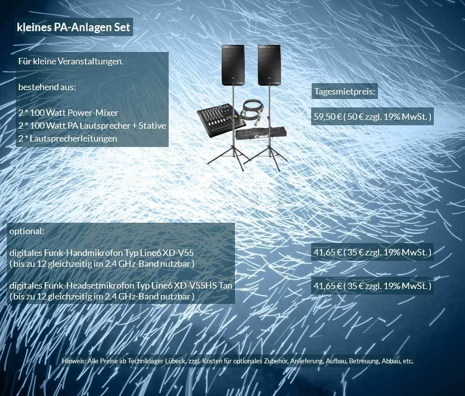 Verleihofferte kleine PA Anlage mit Lautsprecher, Powermixer, Boxenstative, Kabelset ab 50 € netto täglich