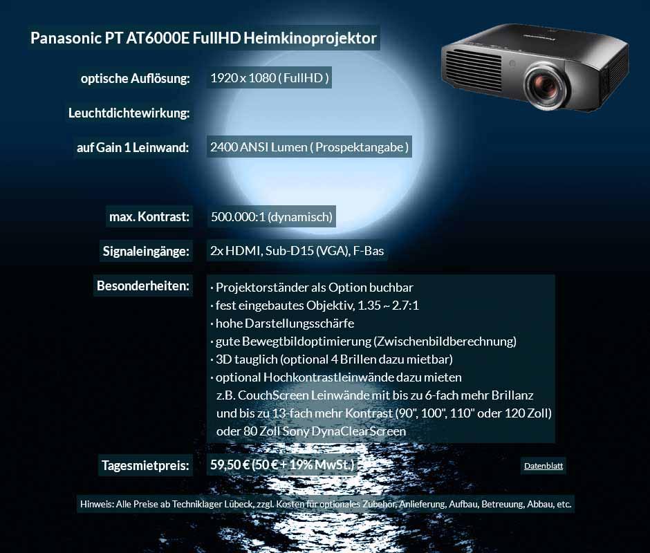 Verleihangebot zum Beamer Ausleih Panasonic PT AT6000E Heimkinobeamer zum Tagesmietpreis von 70 Euro + Mehrwertsteuer