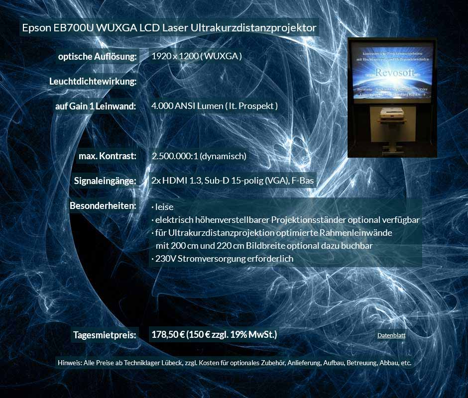 Mietangebot zur Beamer Miete 4.000 ANSI Lumen LCD WUXGA Laser Ultrakurzdistanzprojektor vom Typ Epson EB700U zum Preis von 150 Euro + Mehrwertsteuer