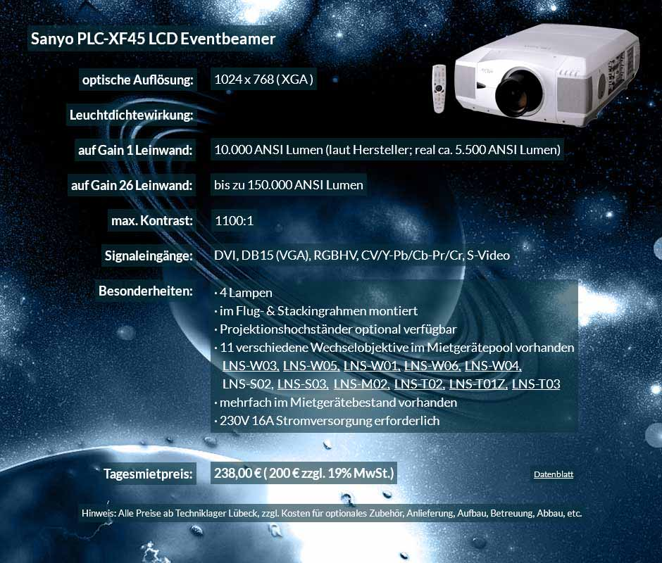 Annonce für Beamer-Vermietung 10.000 ANSI Lumen LCD XGA Eventbeamer Sayno PLC XF 45 für 250 Eur zzgl. MwSt. inkl. Wechselobjektiv zur Auswahl LNS-W03, LNS-W05, LNS-W01, LNS-W06, LNS-W04, LNS-S02, LNS-S03, LNS-M01, LNS-M02, LNS-T02, LNS-T01