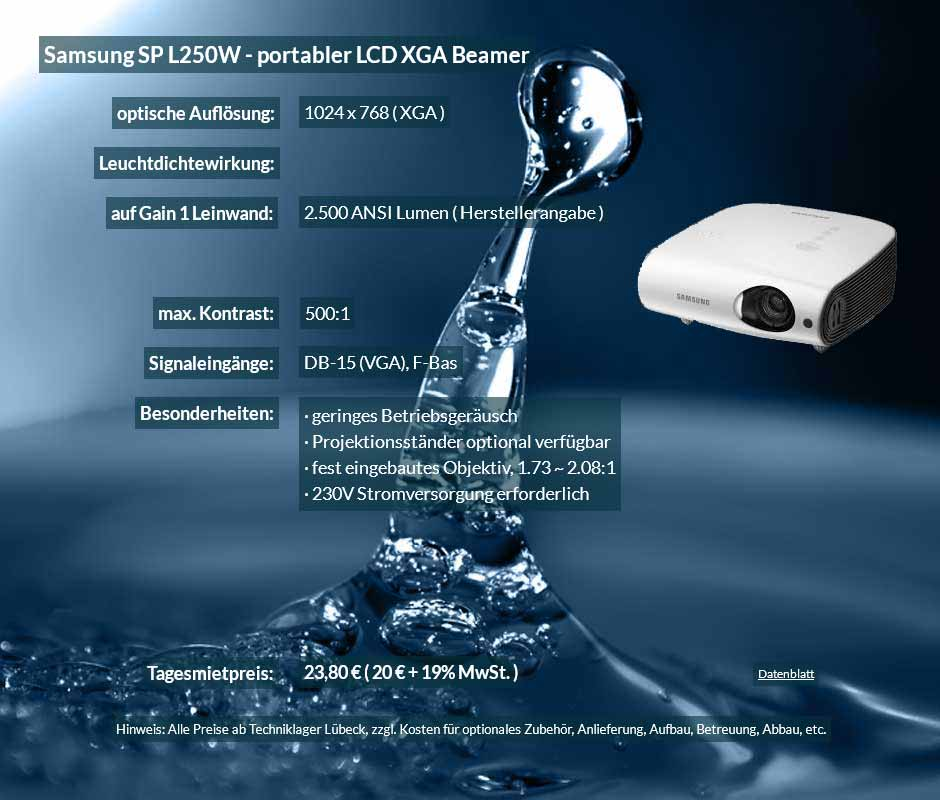 Inserat für DV Projektor ausleihen Samsung SP L250W zu einem Mietpreis je Tag von 20 Euro + Mwsteuer