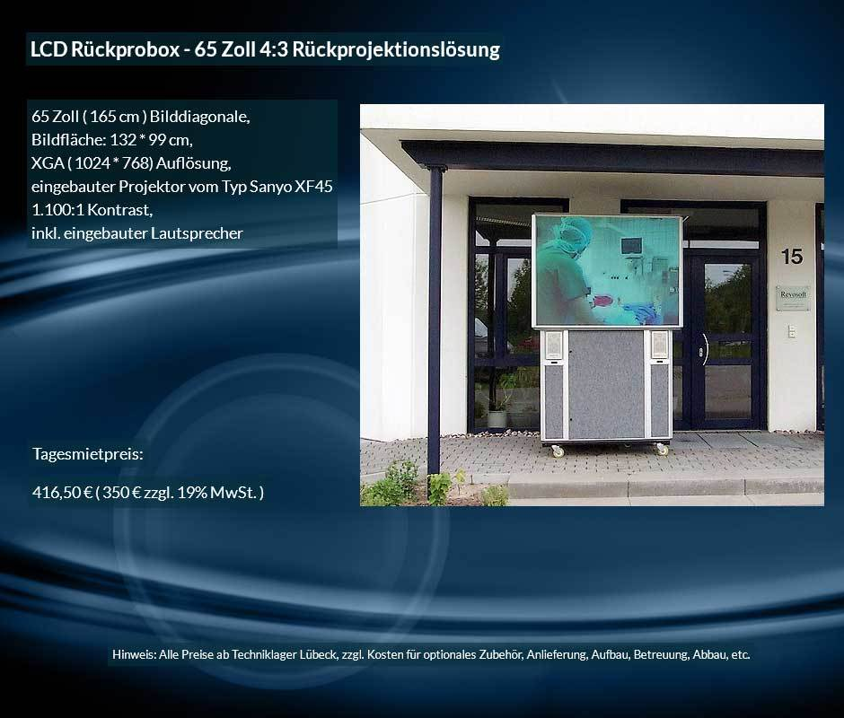 Mietofferte XGA 4:3 Rückprojektionsbox zu einem Tagesverleihpreis ab 350 € netto