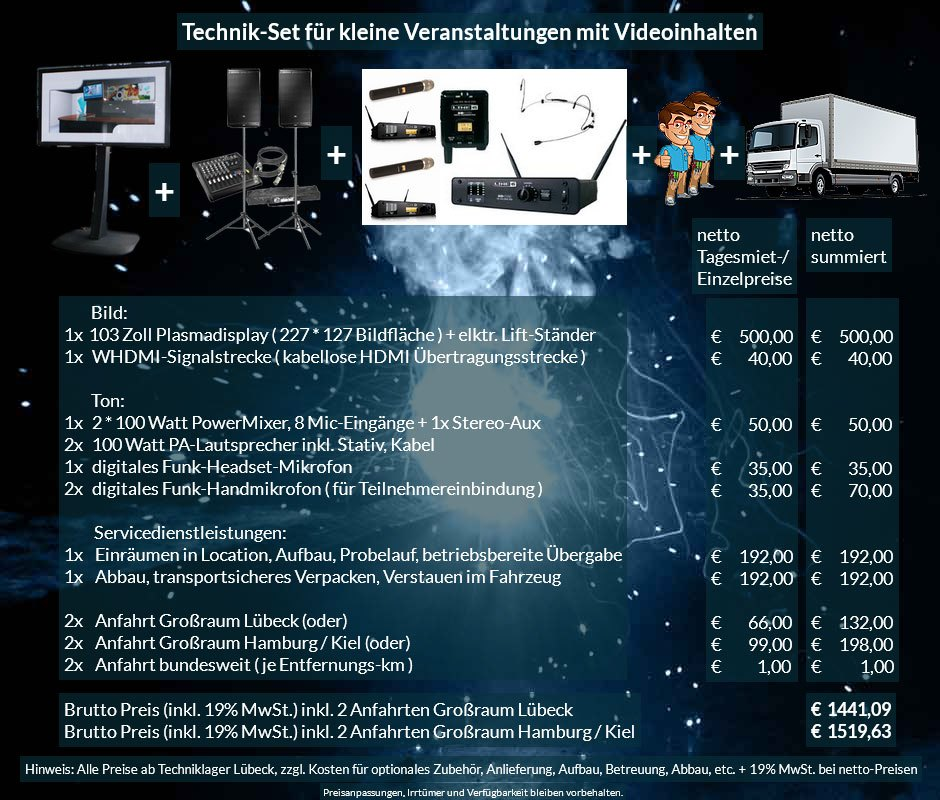 16:9 Veranstaltungstechnik Mietangebot FullHD Plasmadisplay + PA Anlage + Mikrofone + Anlieferung Aufbau Übergabe Abbau Rücktransport