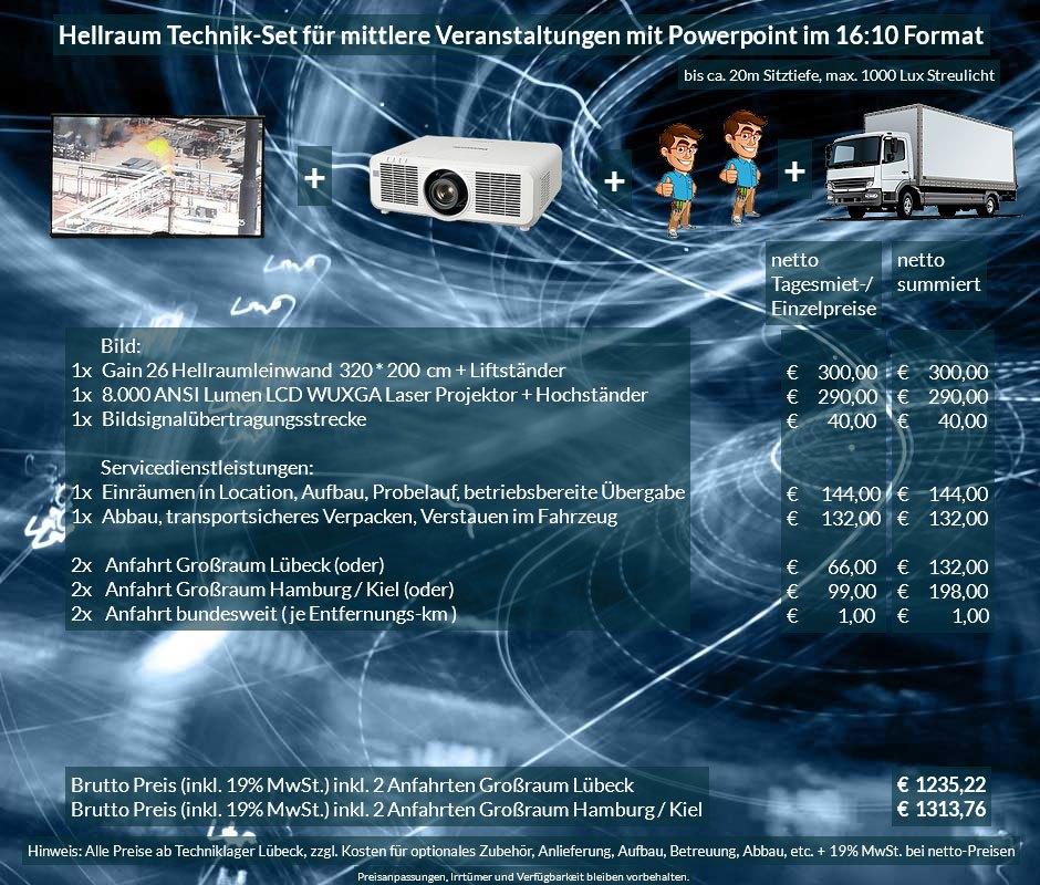 16:10 Veranstaltungstechnik Mietangebot WUXGA LCD Laser Projektor 6500 ANSI Lumen + 320x200 cm Gain 26 Hellraumleinwand für Tageslichtprojektion + Anlieferung Aufbau Übergabe Abbau Rücktransport
