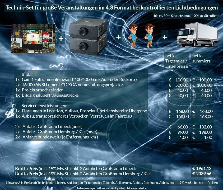 4:3 Veranstaltungstechnik Mietangebot XGA Projektoren 32000 ANSI Lumen + 400x300cm Gain 1 Faltrahmenleinwand Aufprojektion Rückprojektion + Anlieferung Aufbau Übergabe Abbau Rücktransport