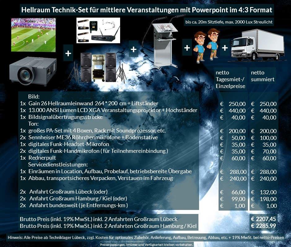 4:3 Veranstaltungstechnik Mietangebot XGA Projektor 13000 ANSI Lumen + 264x200cm Gain 26 Hellraumleinwand für Tageslichtprojektion + PA Anlage mit Mikrofonen + Rednerpult + Anlieferung Aufbau Übergabe Abbau Rücktransport