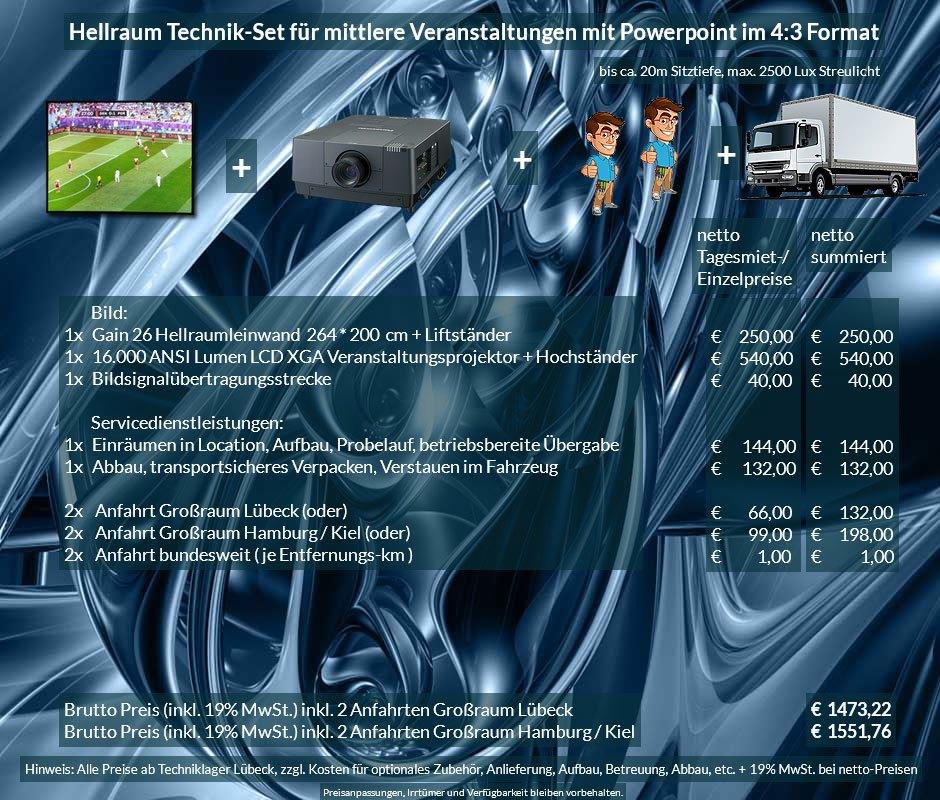 4:3 Veranstaltungstechnik Mietangebot XGA Projektor 16000 ANSI Lumen + 264x200cm Gain 26 Hellraumleinwand für Tageslichtprojektion + Anlieferung Aufbau Übergabe Abbau Rücktransport