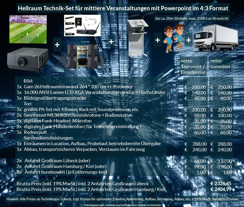 4:3 Veranstaltungstechnik Mietangebot XGA Projektor 16000 ANSI Lumen + 264x200cm Gain 26 Hellraumleinwand für Tageslichtprojektion + PA Anlage mit Mikrofonen + Rednerpult + Anlieferung Aufbau Übergabe Abbau Rücktransport