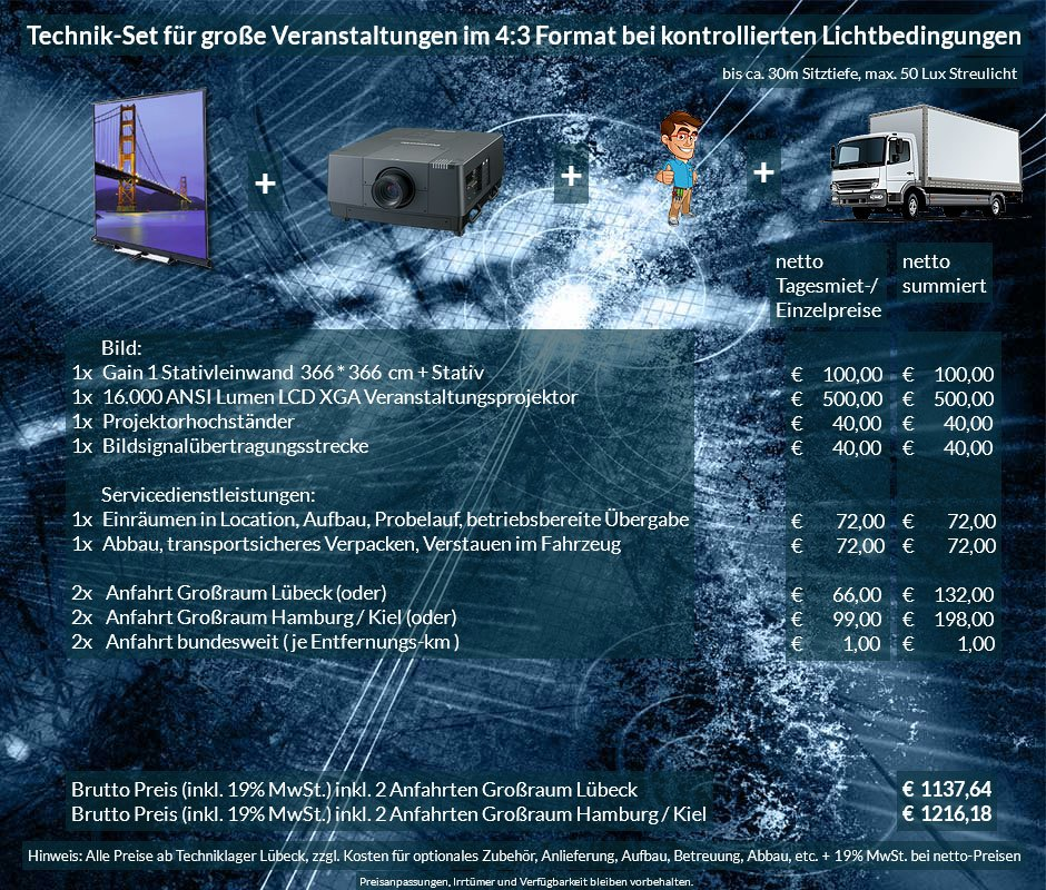 4:3 Veranstaltungstechnik Mietangebot XGA Projektor 16000 ANSI Lumen + 366x366cm Gain 1 Stativleinwand + Anlieferung Aufbau Übergabe Abbau Rücktransport