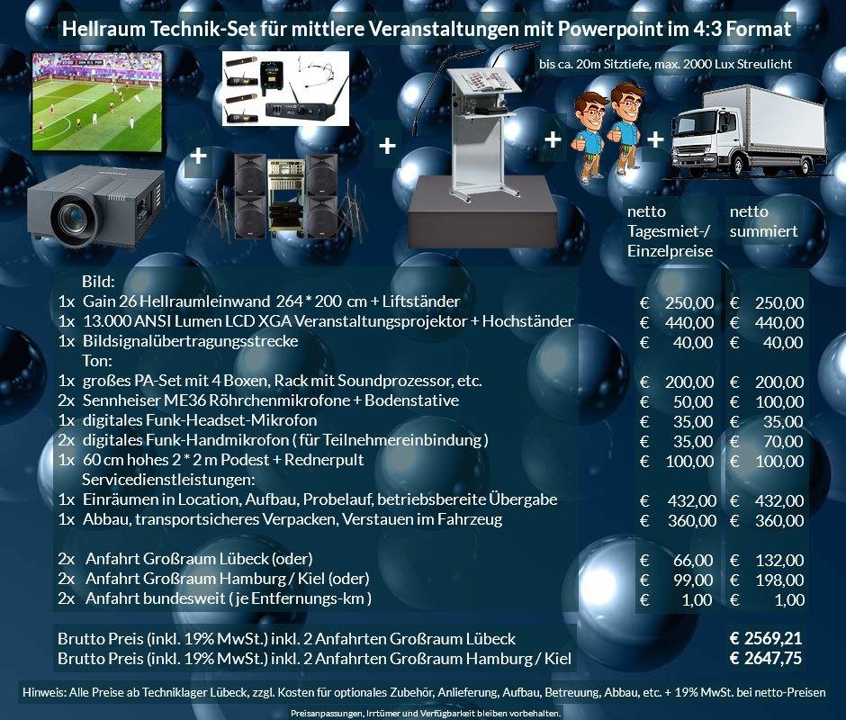 4:3 Veranstaltungstechnik Mietangebot XGA Projektor 13000 ANSI Lumen + 264x200cm Gain 26 Hellraumleinwand für Tageslichtprojektion + PA Anlage mit Mikrofonen + Rednerpult + 2x2m Podest + Anlieferung Aufbau Übergabe Abbau Rücktransport