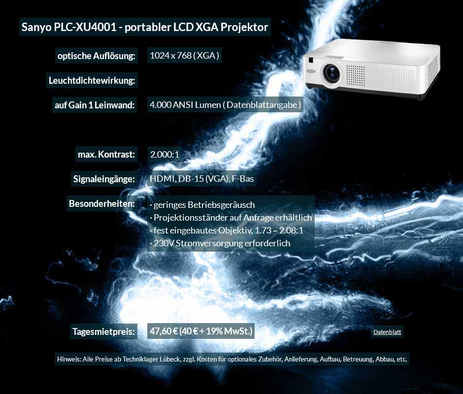 Annonce Präsentationsprojektor LCD Sanyo PLC XU4001 zu einem Mietpreis je Tag von 40 Euro + Mehrwertsteuer