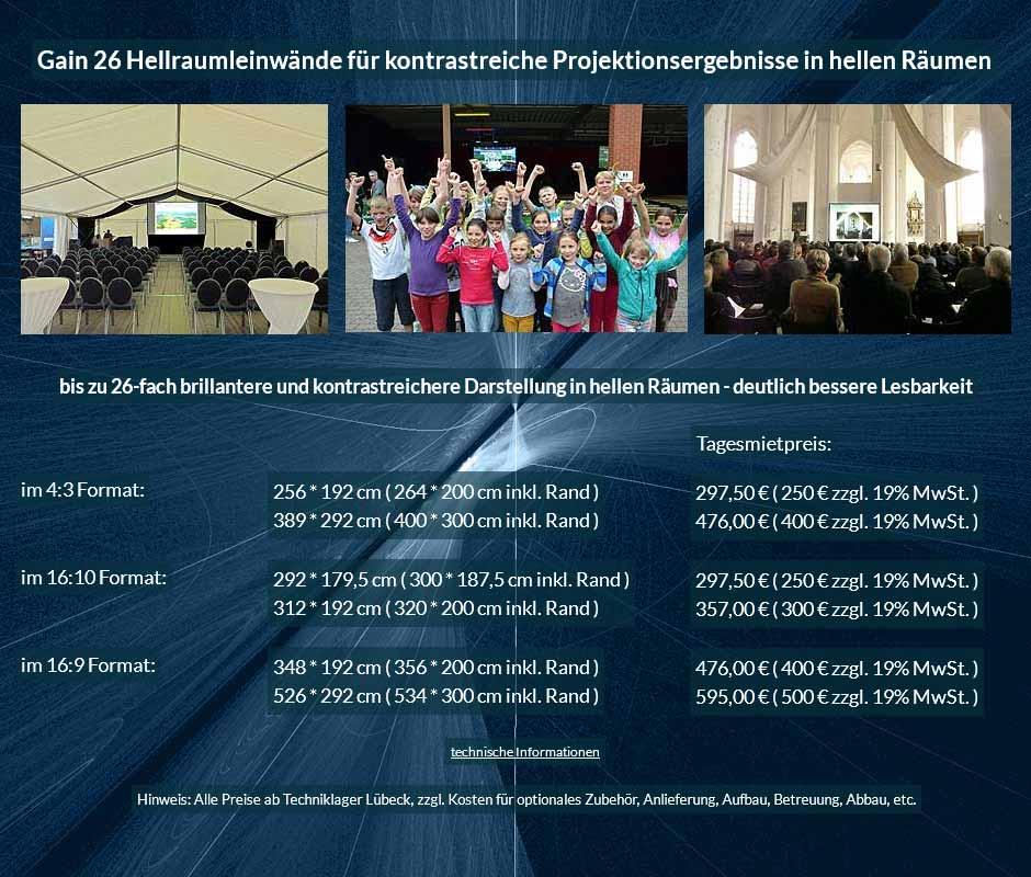 Leinwandmietangebote für Gain 26 Hellraumleinwände in verschiedenen Größen in den Formaten 16:10, 16:9 und 4:3 ab 250 € + Steuer
