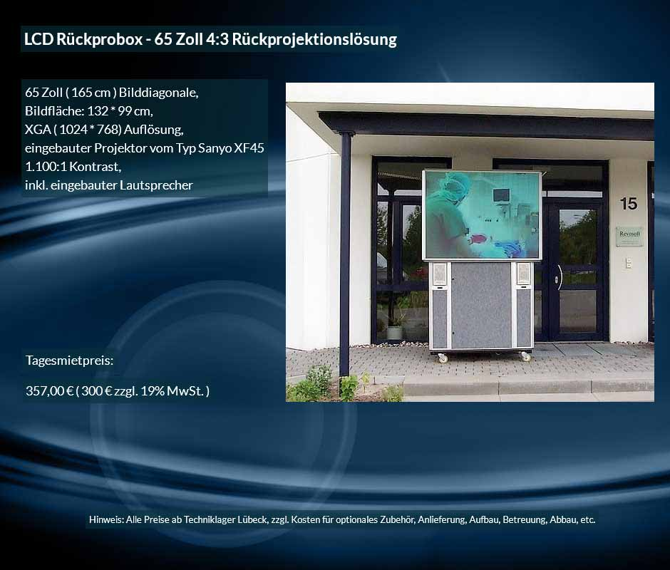 Mietangebot: LCD Rückprojektionsbox