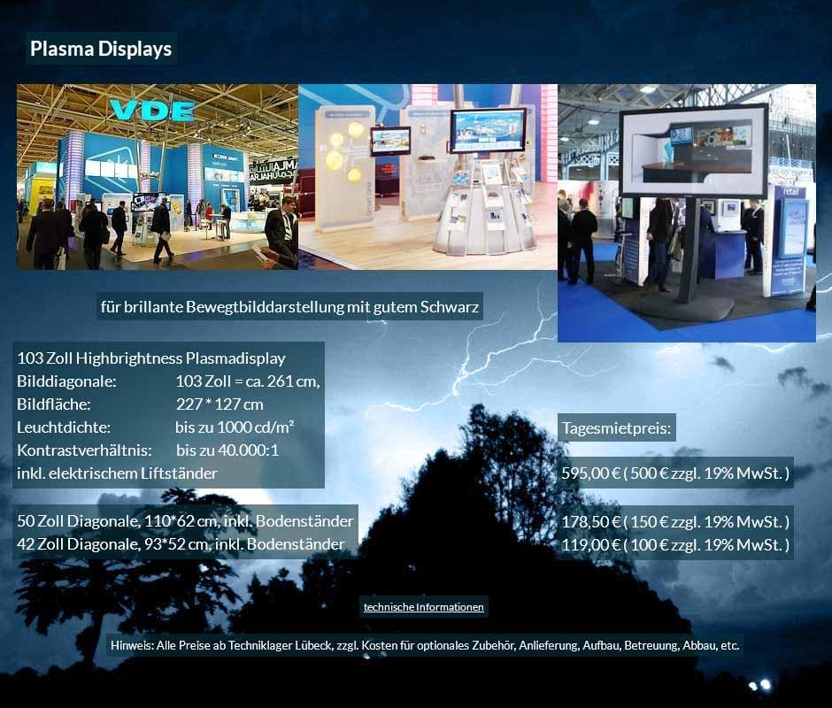 Mietofferte: Plasma Bildschirme von 42 bis 103 Zoll mit Tagesmietpreisen ab 100 € netto