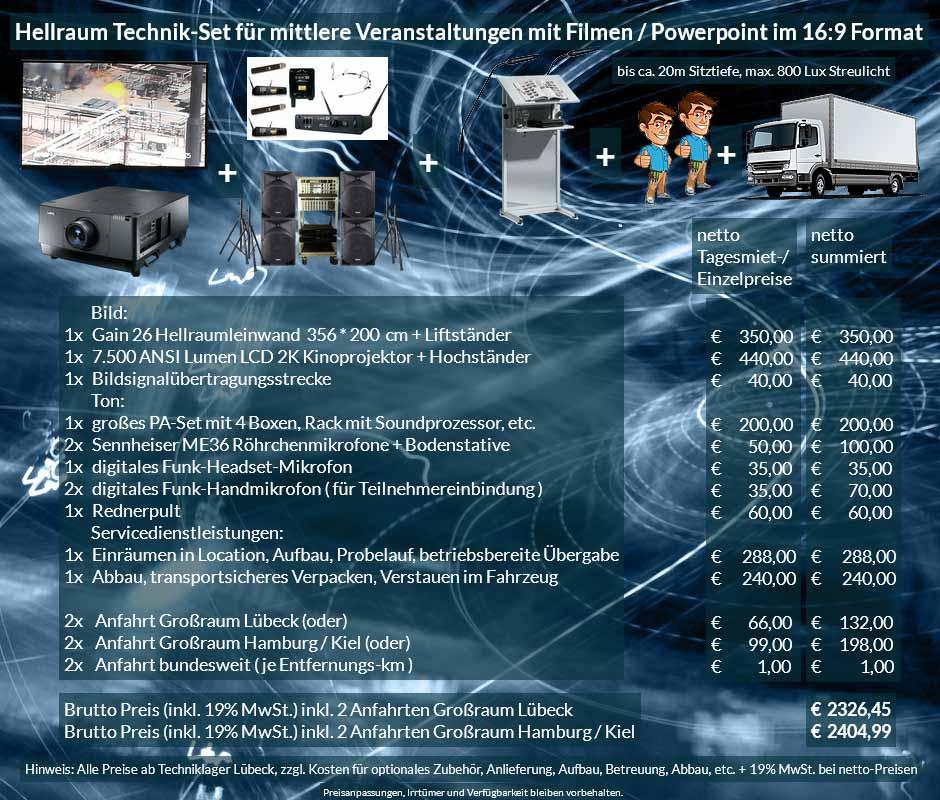 Veranstaltungsset 365x200 cm Hellraumleinwand + Sanyo 2K 7500 ANSI Lumen + Audio