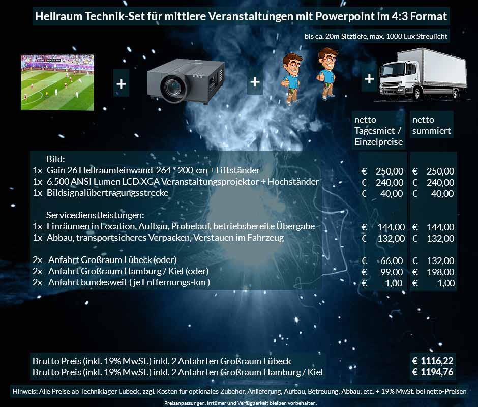 Veranstaltungsset 264x200 cm Hellraumleinwand + Panasonic XGA 6500 ANSI Lumen