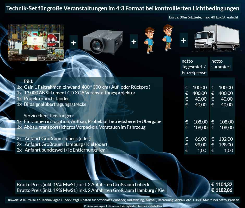 16:10 Veranstaltungstechnik-Mietangebot WUXGA LCD Laser Projektor 6500 ANSI Lumen + 240x240cm Stativleinwand + PA Anlage mit Mikrofonen + Anlieferung Aufbau Übergabe Abbau Rücktransport