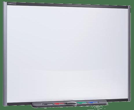 Auf dem Smartboard können per Finger die Funktionen der Maus ausgeführt werden. Zusätzlich können mit Stiften Notizen erstellt werden.
