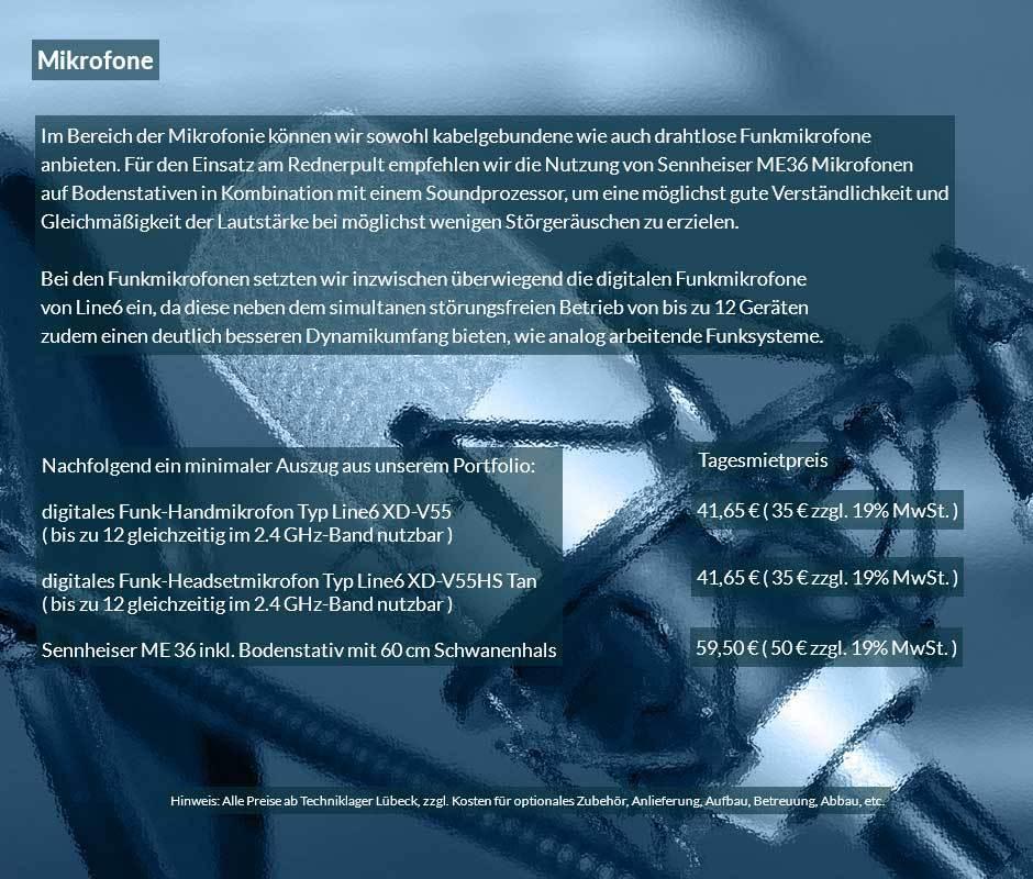 Handmikrofone und Headset als digitale Funkmikrofone im Vermietungsprogramm von Revosoft.