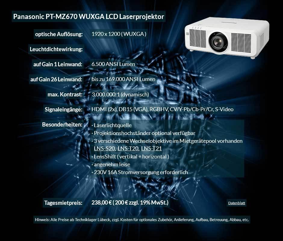 Inserat zum Projektor leihen 6500 ANSI Lumen LCD WUXGA Laserprojektor vom Typ Panasonic PT MZ670 für 200 Eur zzgl. MwSt. inkl. Wechselobjektiv zur Auswahl LNS-S20,LNS-T20, LNS-T21