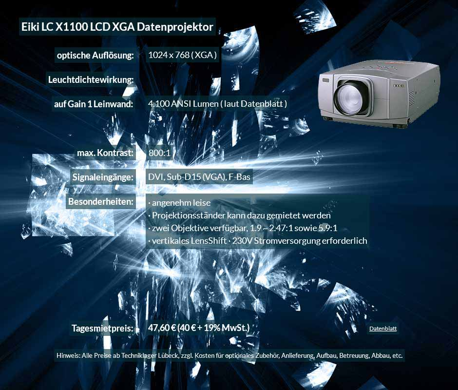 Datenprojektor Verleih Offerte für Eiki X1100 LCD XGA Datenprojektor zu einem Mietpreis je Tag von 40 Euro + Mehrwertsteuer