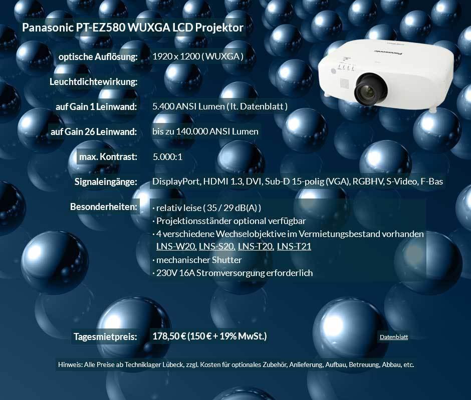 Projektorvermietungsangebot Panasonic PT EZ580