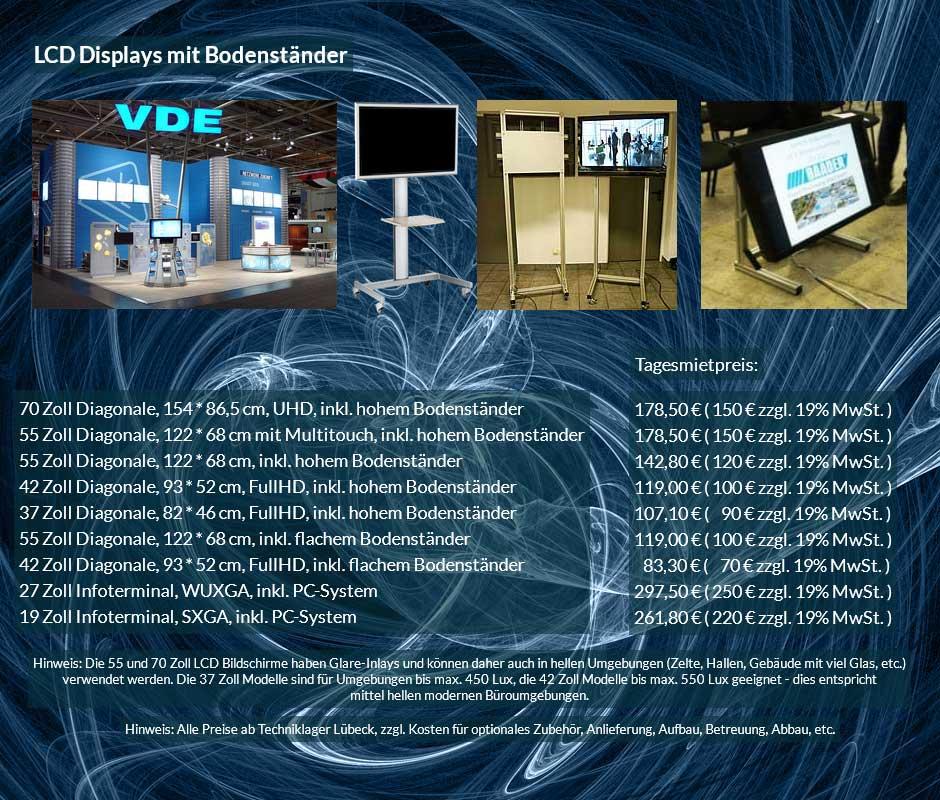 Vermietungsofferte für LCD Display Vermietung mit Bodenständern, verschiedene Größen zu Tagesverleihpreisen ab 70 € netto