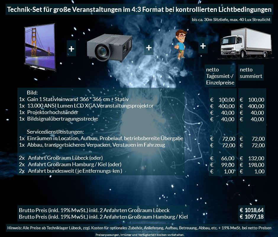 4:3 Veranstaltungstechnik-Mietangebot XGA Projektor 13000 ANSI Lumen + 366x366cm Gain 1 Stativleinwand + Anlieferung Aufbau Übergabe Abbau Rücktransport