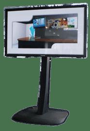 Das 103 Zoll Plasmadisplay überzeugt dank bs zu 1000 cd/m² und einem Kontrastverhältnis von 40.000:1 mit sehr gutem Kontrast bei gleichzeitig sehr brillantem Bild mit einer Bildfläche von ca. 227*127 cm. Mit einem elketrischen Bodenständer kann das Display auf bis zu 2m Höhe geliftet werden.