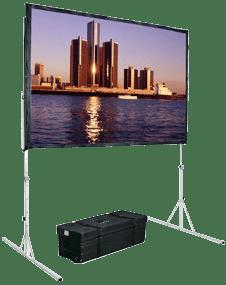 Mit Fastfold Leinwänden können wir portable Projektionsflächen mit Bildbreiten bis über 7m für nahezu jede Veranstaltung bzw. Event auf Mietbasis zur Verfügung stellen.
