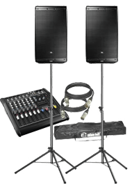 Unser kleines Audio-Set besteht aus einem Powermixer, zwei PA Lautsprechern inkl. Stativen, einem Kabelset und reicht zumeist für Veranstaltungen bis ca. 80 Personen aus.