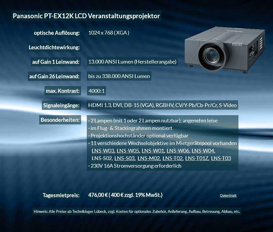 Anzeige für Beamervermietung XGA Veranstaltungsprojektor mit 15.000 ANSI Lumen für 400 € zzgl. MwSt. inkl. Wechselobjektiv zur Auswahl LNS-W03, LNS-W05, LNS-W01, LNS-W06, LNS-W04, LNS-S02, LNS-S03, LNS-M01, LNS-M02, LNS-T02, LNS-T01