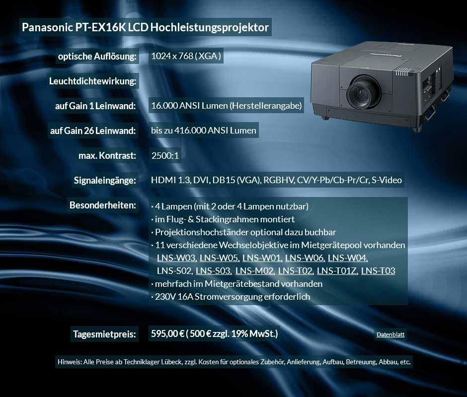 Die 16.000 ANSI Lumen XGA LUD Hochleistungsbeamer vom Typ Panasonic PT EX 16K können in Kombination mit Gain 26 Hellraumleinwänden für Tageslichprojektion in hellen Räumen, Hallen, Zelten, etc. verwendet werden. Als Wechselobjektiv stehen das LNS-W03, LNS-W05, LNS-W01, LNS-W06, LNS-W04, LNS-S02, LNS-S03, LNS-M01, LNS-M02, LNS-T02, LNS-T01 zur Auswahl