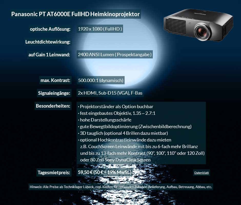 Verleihangebot zum Beamer Ausleih Panasonic PT AT6000E FullHD Heimkinobeamer zum Tagesmietpreis von 70 Euro + Mehrwertsteuer