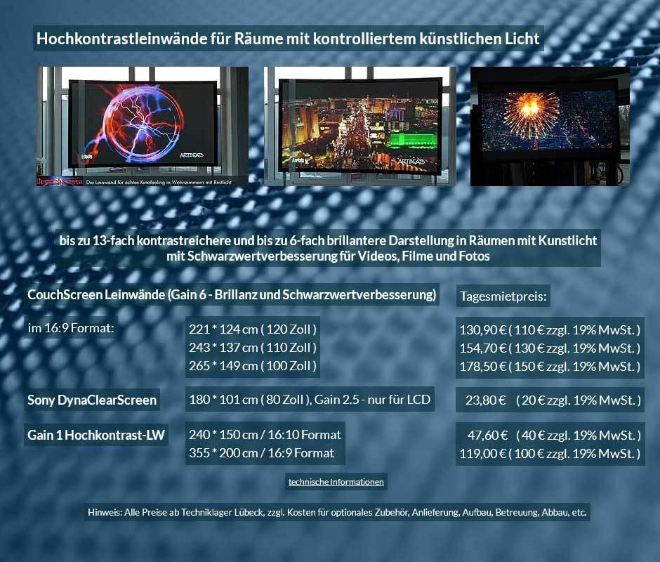 Hochkontrastleinwandverleihangebot für CouchScreen und Hochkontrastleinwände ab 20 € + Mehrwertsteuer