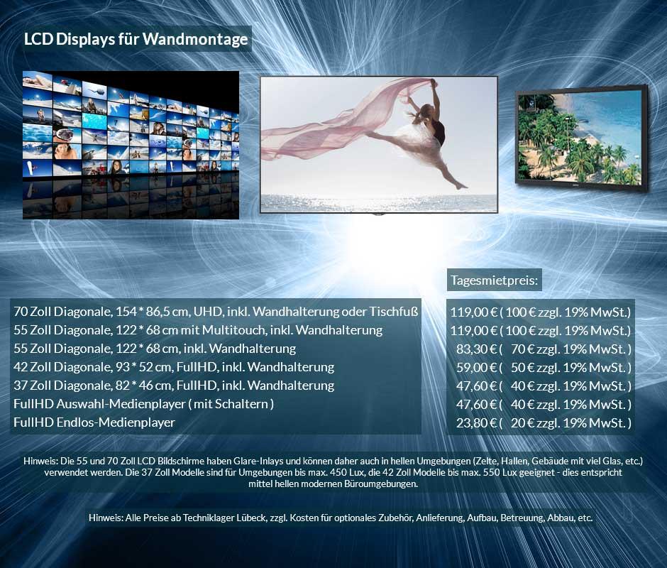 Verleihofferte für LCD Monitor Verleih mit Wandhalterung, verschiedene Größen zu Tagesverleihpreisen ab 50 € netto
