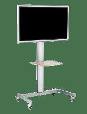 Plasma und LCD Display Bodenständer für Vermietung mit der Möglichkeit Ablagen für Medienquellen wie Notebook, Medienplayer, DVD Player, etc. anbringen zu können.