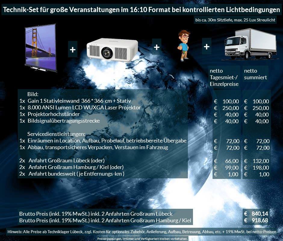 16:10 Veranstaltungstechnik Mietangebot WUXGA LCD Laser Projektor 6500 ANSI Lumen + 366x366cm Gain 1 Stativleinwand + Anlieferung Aufbau Übergabe Abbau Rücktransport