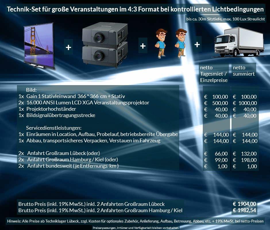4:3 Veranstaltungstechnik Mietangebot XGA Projektoren 32000 ANSI Lumen + 366x366cm Gain 1 Stativleinwand + Anlieferung Aufbau Übergabe Abbau Rücktransport