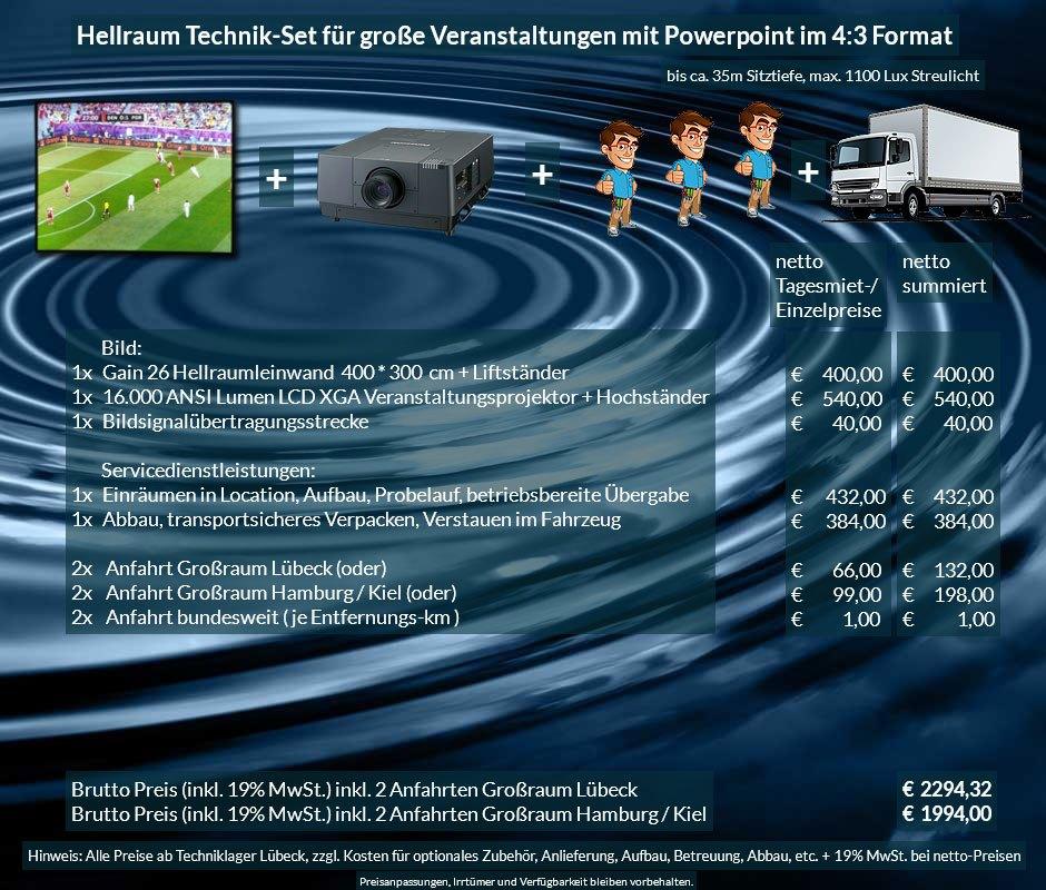 4:3 Veranstaltungstechnik Mietangebot XGA Projektor 16000 ANSI Lumen + 400x300cm Gain 26 Hellraumleinwand für Tageslichtprojektion + Anlieferung Aufbau Übergabe Abbau Rücktransport