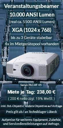 Angebot zum Beamer leihen Lübeck: 10.000 ANSI Lumen XGA Veranstaltungsbeamer vom Typ Sanyo XF 45 inkl. großer Auswahl an Wechselobjektiven