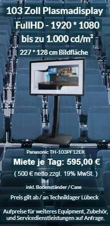 Vermietung 103 Zoll Plasma Display ab 500 € netto je Tag