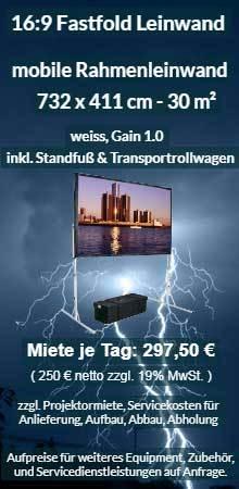Angebot: Riesige Faltrahmenleinwand zum Mieten - 732 cm x 411 cm