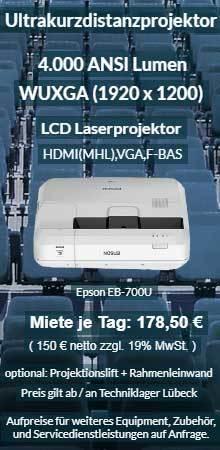 Mietofferte Epson EB700U LCD Laser WUGA Ultrakurzdistanzprojektor Vermietung ab 150 € netto