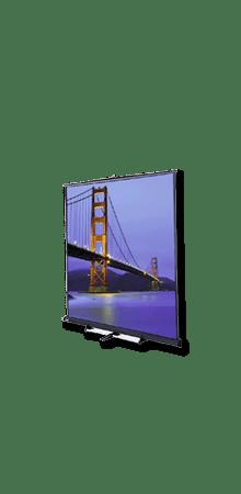 Die mobile Boden-Stativleinwand hat eine Bildfläche von bis zu 366*366 cm, einen Gain Wert von 1 und kann in unterschiedlicher Höhe ausgefahren werden.