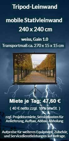 Angebot zum Mieten: Tripod Stativleinwand 240x240 cm