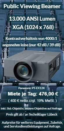 Offerte zur Miete Veranstaltungsprojektor Panasonic PT EX 12K für Projektion bei Einfall von Tageslicht